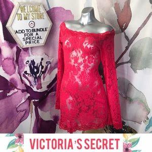 VS Very Sexy Cold Shoulder Lace Mesh Mini Dress